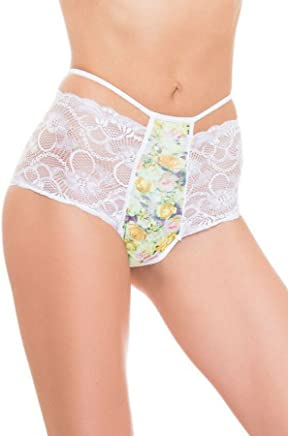 GB Intimates High Waist Brazilian Underwear Cheeky Cut Panties for Women  White Lace Panty (Large fec627560