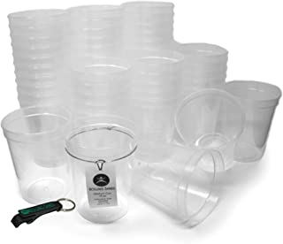 Rolling Sands 16 Ounce Reusable Plastic Stadium Cups Clear, Bulk 50 Pack, Made in USA, BPA-Free Dishwasher Safe Plastic Tumblers and Bottle Opener