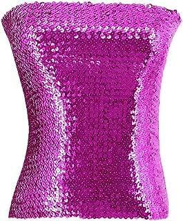 Novia's Choice Women Sequin Off Shoulder Tube Top Stretchy Chest Wrap Party Blouse Performance Vest
