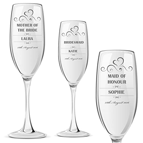 f4f748cfcf7 ukgiftstoreonline Personalised Champagne Prosecco Glass Wedding Favour Gift  Bridesmaid Maid Honour