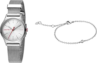 Esprit Essential Silver Dial Stainless Steel Analog Watch Bracelet Set For Women, ES1L052M0055SET