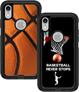Teleskins Protective Designer Vinyl Skin Decals/Stickers for Otterbox Commuter iPhone Xr Case - Basketball and Basketball Never Stops Design Pattern [Pack of 2 Skins] - Only Skins and Not Case