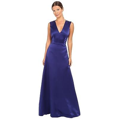 Alberta Ferretti Sleeveless V-Neck Satin Gown (Deep Blue) Women