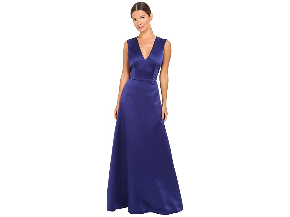 Alberta Ferretti Sleeveless V-Neck Satin Gown (Deep Blue) Women