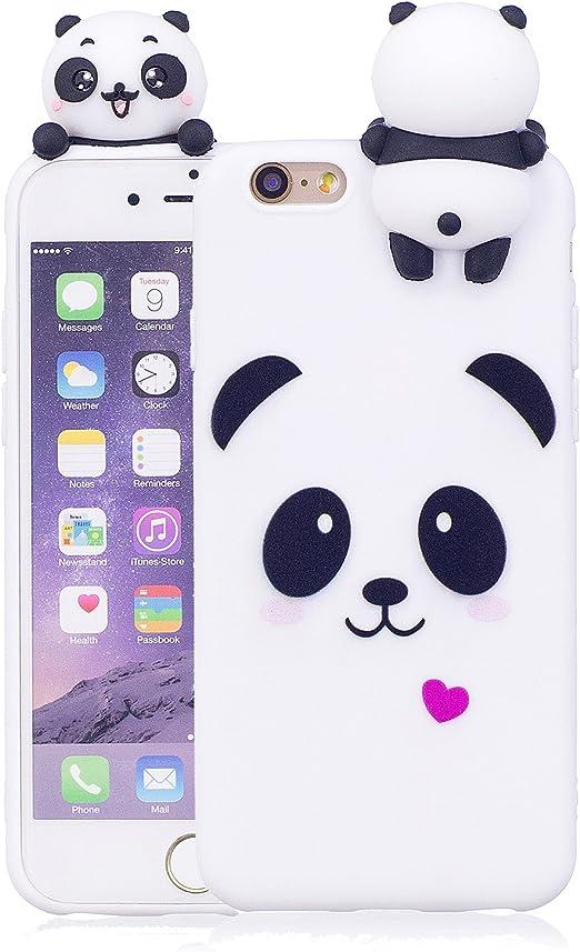 DAMONDY Coque pour iPhone 6S, iPhone 6, 3D, motif animaux mignons de dessin animé en gel de silicone souple, design mince en caoutchouc, coque de ...