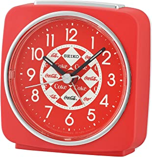 Seiko Instruments Coca-Cola Alarm Clock - Red Analog Tabletop Timepiece, Battery Operated