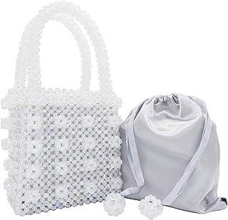 Miuco Womens Beaded Handbags Handmade Weave Crystal Pearl Tote Bags a55c2ae3b886
