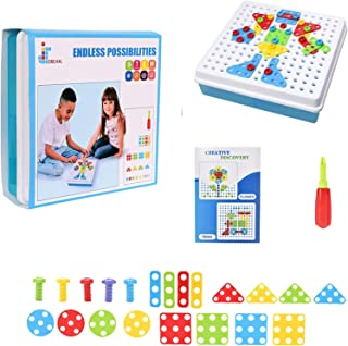 JIDREAM Screw Toy Kids Set, Building Block Games, Kids Puzzle Toy With Screwdriver, Educational Learning Game, STEM Toy Pu...