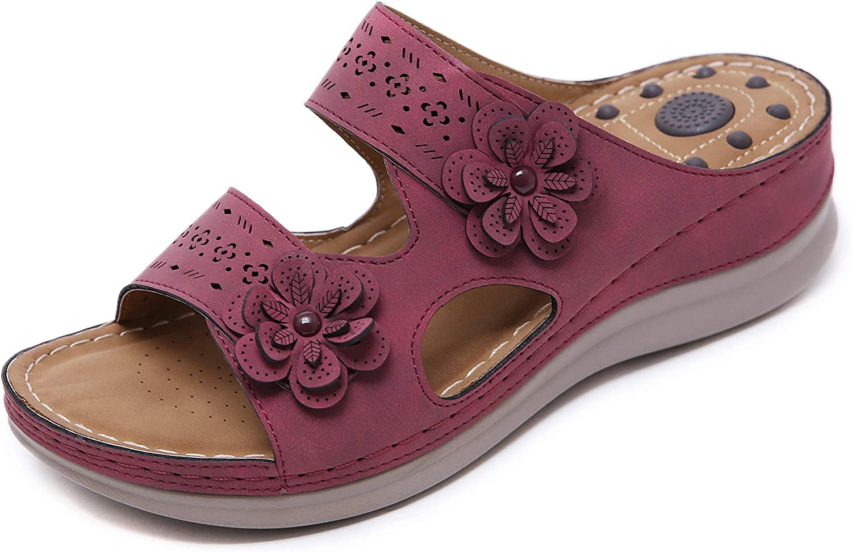 CrazycatZ CrazycatZ Womens Flowers Slip On Soft Slide Wedge Sandals Bohemian