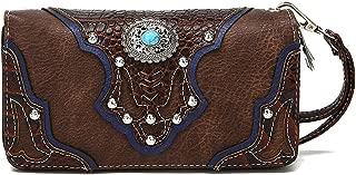 La Dearchuu Rhinestone Studded Wristlet Bags for Women Embossed Design Western Wristlet Purse Wallet