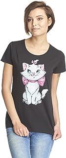 Los Aristogatos Marie - Pure Cutie Mujer Camiseta Negro, Regular