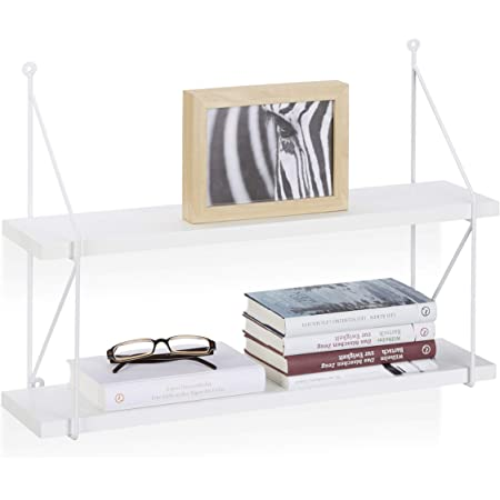 Relaxdays Étagère murale 2 niveaux plateau MDF avec cadre en métal structure ouverte HxlxP: 42 x 60 x 16 cm, blanc