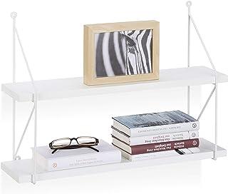 Relaxdays Estantería de Pared con 2 Niveles Madera Blanco 42 x 60 x 16 cm