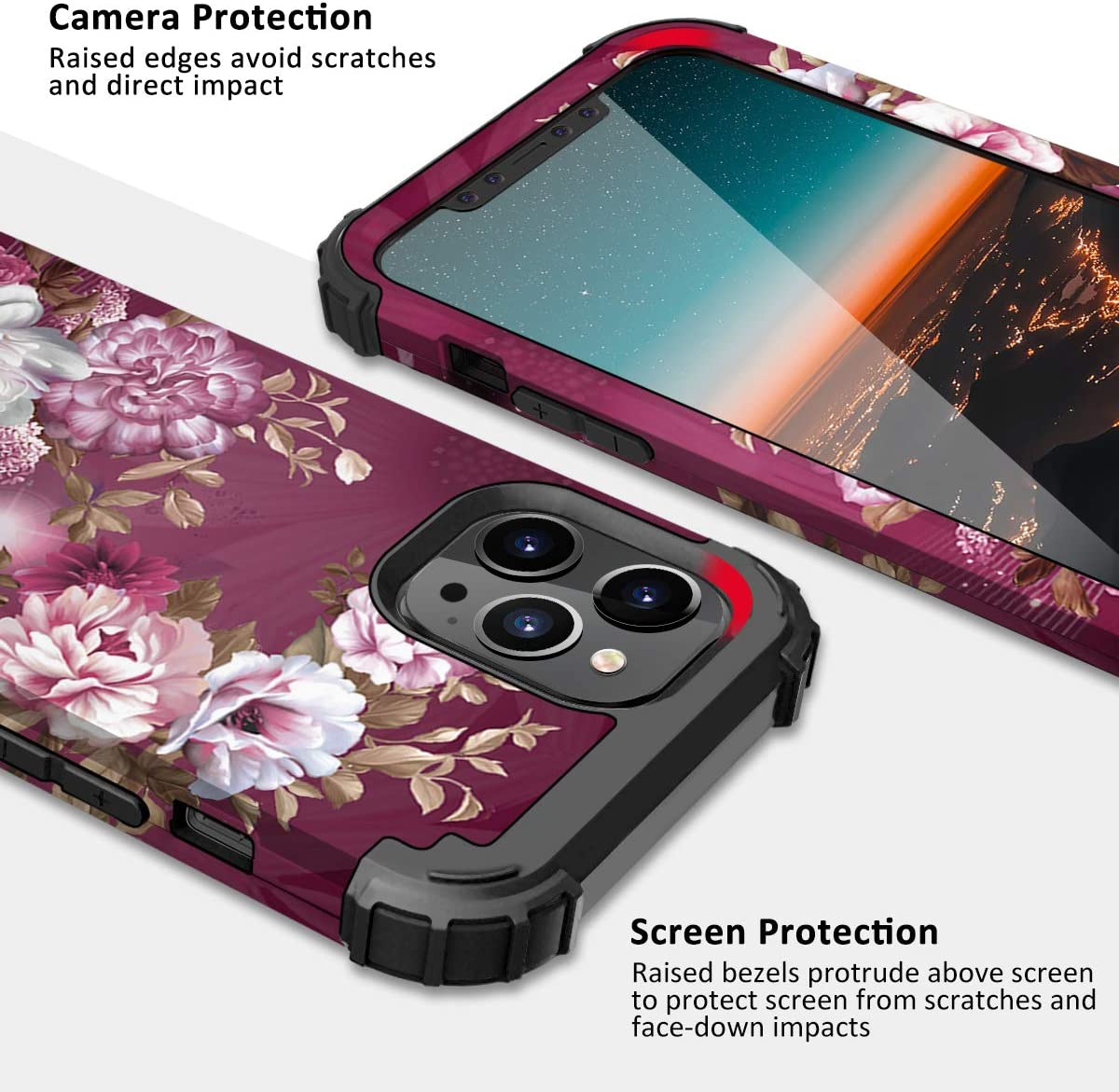 Hocase Compatible with iPhone 12/12 Pro Case, Heavy Duty Shockproof Soft Silicone Rubber Bumpers Hard PC Protective Case for iPhone 12/iPhone 12 Pro (6.1
