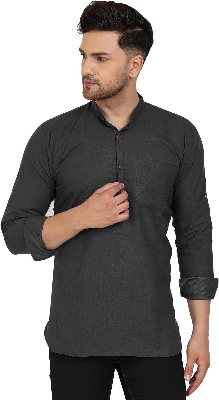 SKAVIJ Men's Tunic Viscose Manufacturer regenerated product Casual Kurta Fit New arrival Shirt Regular Short