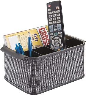 mDesign Storage Organizer Caddy for TV Remote Controls, Magazines - Black