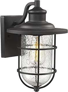 bestshared BS4094BK Sconce, Vintage Outdoor Patio Wall Mounted, 1-Light Black Finish with Seeded Glass Shade, 1 Pack