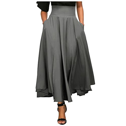 5bc8b6510ba Aumir Women Casual High Waist Front Slit Belted Swing Pleated Long Maxi  Skirt