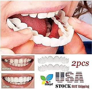Veneers Snap in Teeth, STCORPS7 Braces Veneers Dentures Fake Teeth Smile Snap Instant and Confident on Smile 2Pcs Comfort Fit Flex Cosmetic Teeth Denture Teeth Top Cosmetic Veneer (2pcs.)