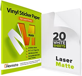 Premium Printable Vinyl Sticker Paper Laser Printer - 20 Waterproof Sticker Paper Matte - White Decal Paper - Tear and Scr...