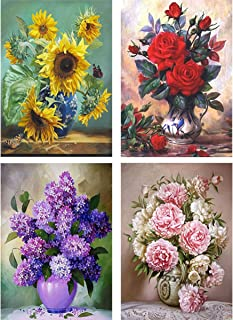 Yomiie 4 Pack 5D Diamond Painting Full Drill Oil Painting Flowers by Number Kits for Adults, Floral Bloom DIY Craft Paint with Diamonds Art Home Decorations 12x16 inch (Sunflower Rose Lilac and Peony)