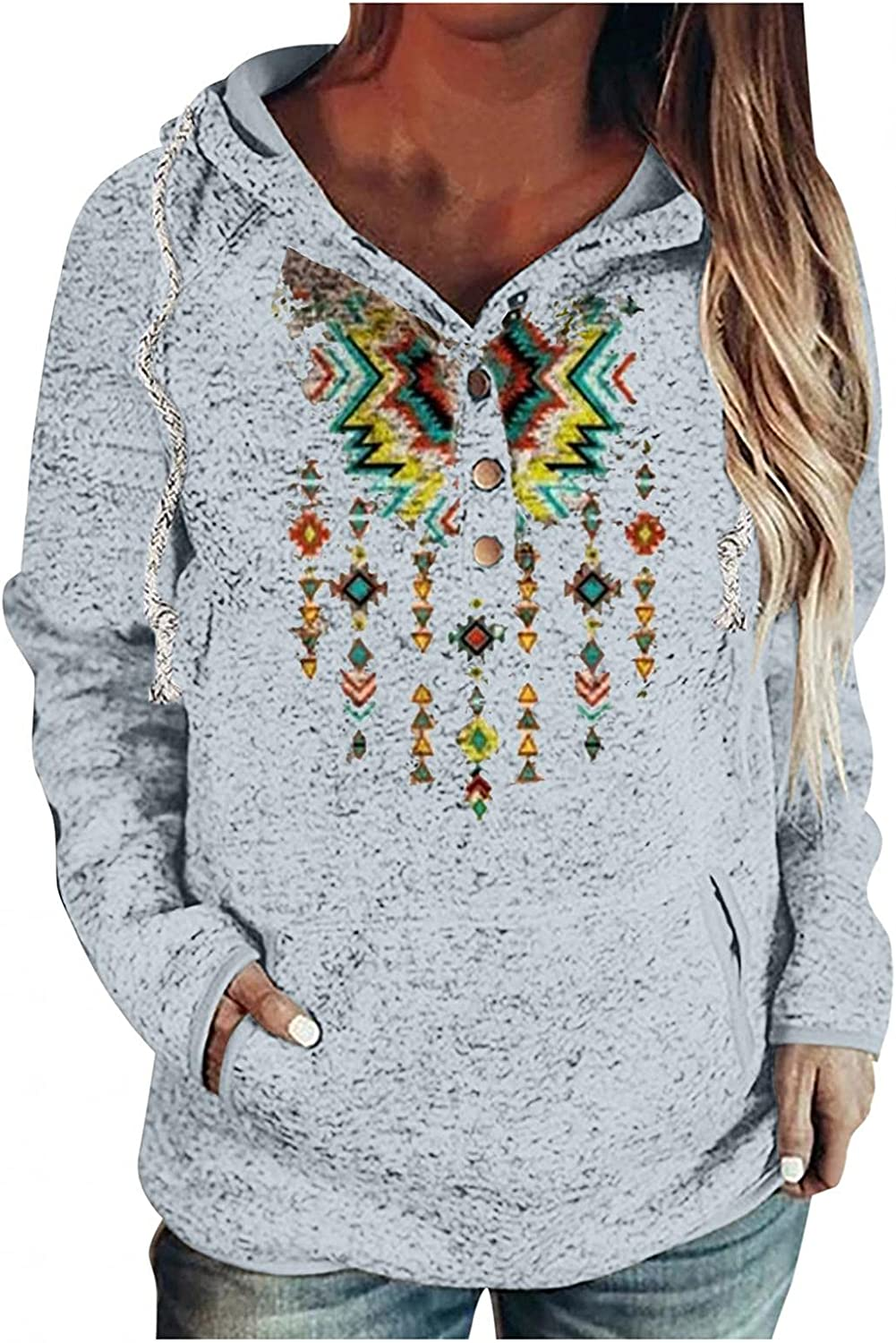 UOCUFY Hoodies for Women, Womens Casual Long Sleeve Sweatshirts Pullover Button Down Drawstring Hoodies with Pockets