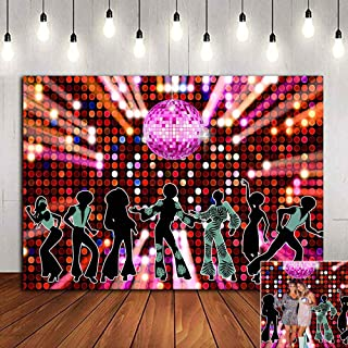 70s 80s 90s Disco Fever Dancers Party Decorations Photography Backdrop Let's Glow Crazy in The Dark Photo Background Shining Neon Stages for Photo Booth Studio Props Vinyl 5x3ft Banner Candy Table