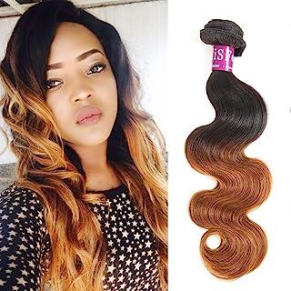 "Ombre Brazilian Body Wave 1 Bundle, Color 1B/30 100% Unprocessed Virgin Human Hair Weave,10A Grade Dark Brown Ombre Brazilian Hair Extensions (1 Bundle 20"")"