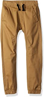 Southpole Little Boys' Basic Solid Stretch Twill Long Jogger Pants, Tobacco, Small