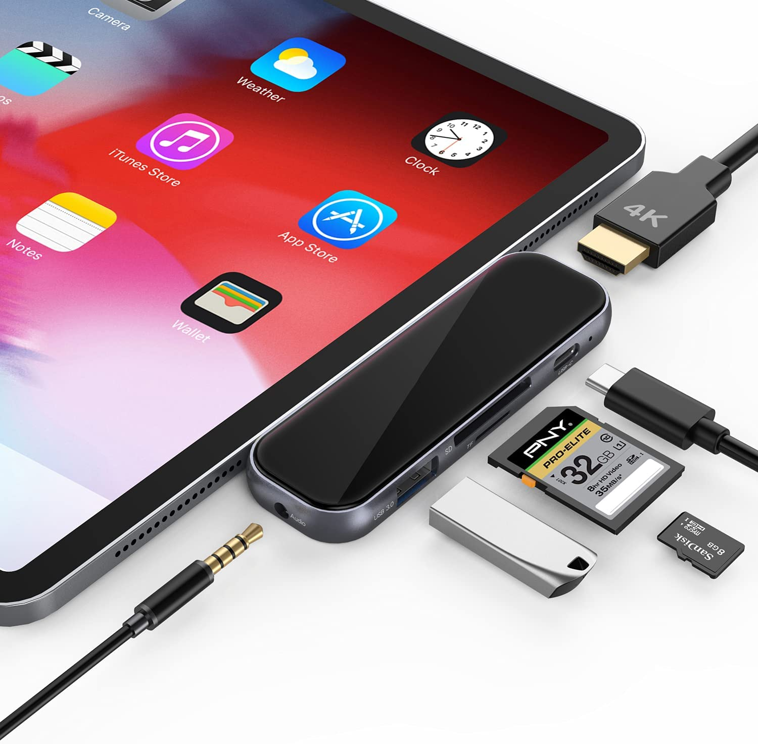 USB C Hub for iPad Pro - 7 in 1 Portable 2.5D Tempered Glass Multiport Adapter with 4K HDMI, PD Charging, SD/TF Card Reader, USB 3.0 & 3.5mm AUX Dongle for iPad Pro 2021/Mac Pro/Type C Devices