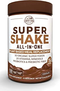 Country Farms All-in-One Super Shake Meal Replacement Dietary Supplement, with Superfoods, Vitamins, Probiotics and Prebiotics, Superfoods, 12.48 oz, 12 Servings