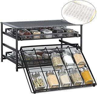 3-Tier Spice Rack Organizer 30 Bottle Pull Out Spice Drawer Storage Shelf for Kitchen Cabinet Pantry Counter - Dark Brown