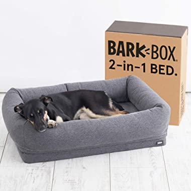 Barkbox 2-in-1 Memory Foam Donut Cuddler Dog Bed   Orthopedic Joint Relief Fur Crate Lounger for Dogs and Cats, Machine Washable + Removable Cover   Waterproof Lining   Includes Toy