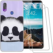 (3 in 1) for Cubot X19 Case + (2 Pack) Glass Screen Protector Slim Clear Soft TPU Silicone Phone Case Cover with (Panda) Transparent for Cubot X19