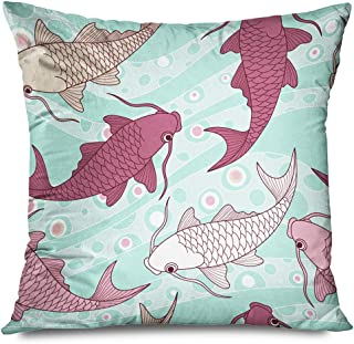 Ahawoso Throw Pillow Cover Decorative Square 20x20 Purple Fish Swim Chinese Carps Pattern Nature Blue Ornate Beauty Koi Japanese Japan Tattoo Asian Zippered Pillowcase Home Decor Cushion Case
