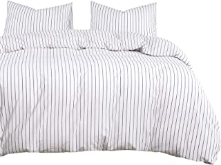 Wake In Cloud - White Striped Duvet Cover Set, 100% Washed Cotton Bedding, Black Vertical Ticking Stripes Pattern Printed ...