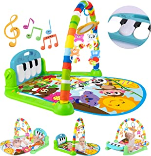 Sponsored Ad - Baby Play Mat Activity Gym For Infants, Baby Gym With Music & Lights, Jungle Gym Activity Center With 5 Col...