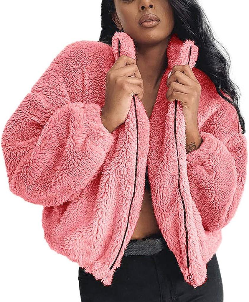 Kangma Womens Ladies Warm Faux Fur Coat Jacket Winter Solid Zipper Parka Outerwear
