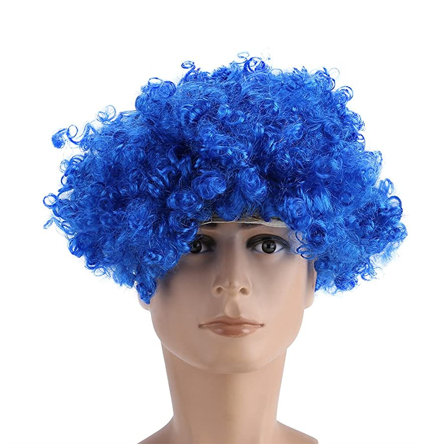 百万めまい起業家8色かつら、コスプレ爆発のかつら、ショートカーリー爆発ヘッドかつらコスプレパーティーヒッピーコスチュームウィッグ、ハロウィーンパーティー用かつら(Blue)