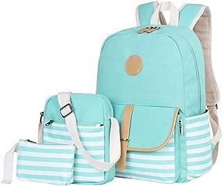 BLUBOON Teens Canvas Backpack Girls School Bags Set Bookbags + Shoulder bag + Pouch 3 in 1 (Water Blue)