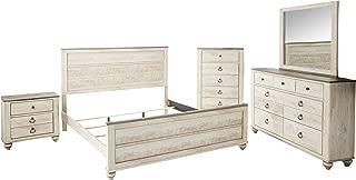 Roundhill Furniture B132KDMNC Imerland Contemporary White Wash Finish 5 Piece Bedroom Set