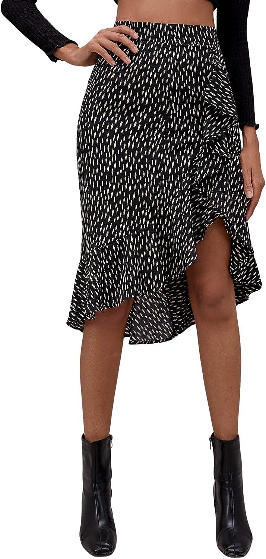 SheIn Women's Asymmetrical Ruffle Hem High Low A Line Polka Dot Midi Wrap Skirt