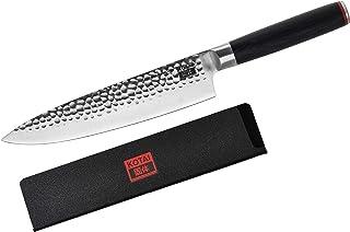 KOTAI - Cuchillo de chef japonés profesional - acero inoxidable de alto carbono 440C. Cuchillo de cocina con hoja de 20 centímetros y mango negro de madera de Pakka - Cuchillo Japonés Gyuto con funda