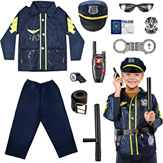Meland Kids Police Costume Role Play Kit - 11PCS Policeman Dress Up for Boys Girls, Police Officer Costumes for Toddlers B...