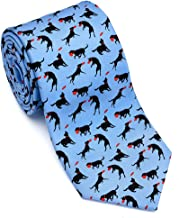 product image for Josh Bach Men's Frisbee and Dog Silk Necktie in Blue, Made in USA