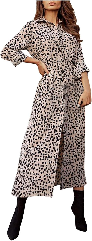 BuyO Women Print Dress Summer Front Slit Leopard Long Sleeve Dra