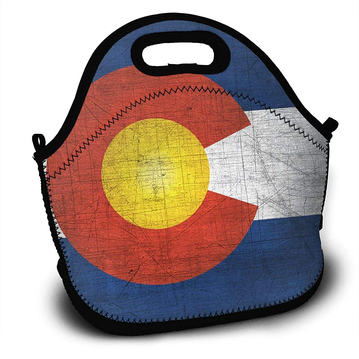 Retro Colorado State Flag4 Lunch Bag Tote Bag Patterned Neoprene Lunch Box Portable Lunch Organizer With Zipper For Work Travel Picnic Beach jbd062643017370