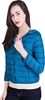 Women's Hoodded Packable Ultra Light Weight Short Down Jacket Coat