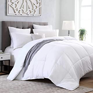 Kingsley trend Down Alternative Quilted Stand Alone Comforter Duvet Insert All-Season Soft Microfiber Hypoallergic Allergen Free Machine Washable - White - King (104 x 92)