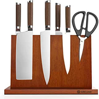 Grelumi Bloc à Couteaux magnétique - Bloc aimanté Double Face en Chêne - Range Couteau de Cuisine Vide - Support Vertical ...